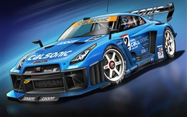 Nissan GT-R blue supercar, race car, cool