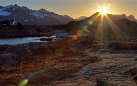 Preview wallpaper Norway, village, houses, river, mountains, morning, sun rays, glare