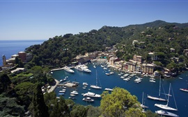 Preview wallpaper Portofino, Liguria, Italy, houses, boats, trees, blue sea