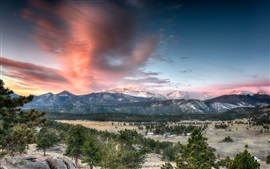 Preview wallpaper Rocky Mountain National Park, Colorado, USA, mountains, trees, sunset