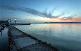 Mar, costa, puerto, puesta del sol, puente, luces, noche