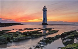 Sea, coast, rocks, sunset, lighthouse, red sky