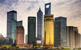 Xangai, China, arranha-céus, crepúsculo, céu, nuvens