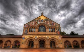 Preview wallpaper Stanford Church, painting, clouds, dusk, California, USA