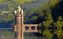 Башня, маяк, деревья, река, Англия, Уэльс