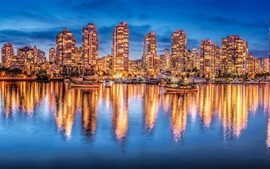 Preview wallpaper Vancouver, Canada, night city, lights, buildings, yachts, water reflection
