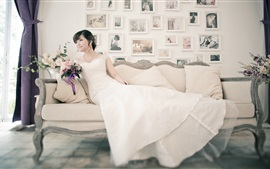 Preview wallpaper White dress asian girl, bride, sofa