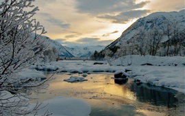 Winter, snow, mountains, trees, river, dusk