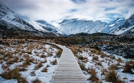 Aoraki Mount Cook National Park, New Zealand, mountains, snow, path