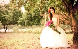Preview wallpaper Asian girl play swing, white dress, flowers