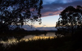 Preview wallpaper Australia, grass, trees, sky, clouds, river, dawn, water reflection