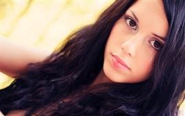 壁紙のプレビュー 黒い髪の少女、顔、肖像画