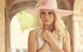 Preview wallpaper Blonde girl, beautiful hat