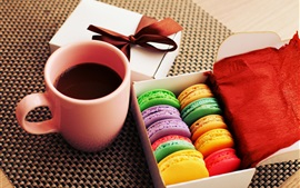 Preview wallpaper Cakes, cookies, dessert, colorful colors, cup, coffee, gift