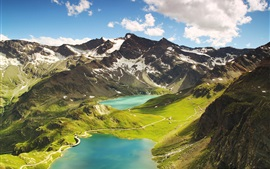 Ceresole Reale, Italy, mountains, lake, clouds