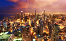 Chicago, Illinois, USA, beautiful city night, skyscrapers, lights