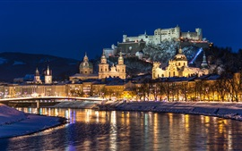 Preview wallpaper City night, Salzburg, Austria, river, winter, snow, houses, lights