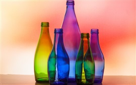 Preview wallpaper Colorful glass bottles, light, colors