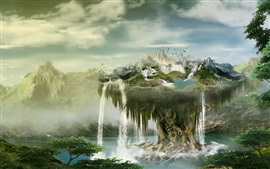 Preview wallpaper Creative design, float island, waterfalls, birds, clouds, mountains