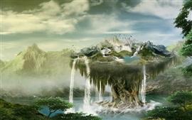 Vorschau des Hintergrundbilder Kreatives Design, Schwimmer Insel, Wasserfälle , Vögel, Wolken, Berge