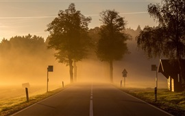 Preview wallpaper Dawn, morning, town, road, fog