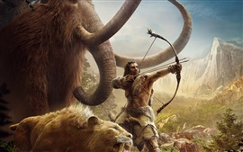 Preview wallpaper Far Cry: Primal, mammoths, saber-toothed tiger