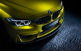 Preview wallpaper German BMW M4 yellow car front view