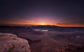 Preview wallpaper Grand Canyon National Park, USA, rocks, sunrise, red sky