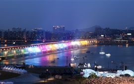 Preview wallpaper Han River, bridge, rainbow illumination, night, Seoul, South Korea