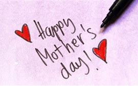 Preview wallpaper Happy Mother's Day, pen, love hearts