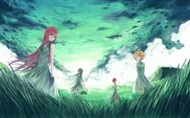 Hatsune Мику, аниме, четыре девочки, трава, облака