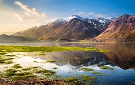 Preview wallpaper Italy beautiful nature, lake, mountains, grass, water, blue sky