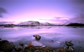 Lake, mountains, stones, snow, winter, sky, clouds