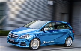 Preview wallpaper Mercedes-Benz B-class Electric Drive blue car speed