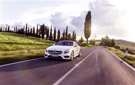 Mercedes-Benz S-Class Coupe white car in the road