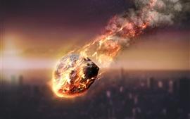Meteorito, fricción, fuego, cielo