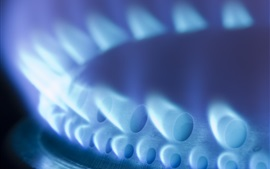 Natural gas, heating, fire flame close-up