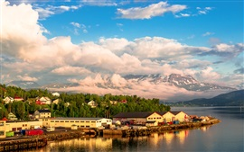 Norway, houses, trees, bay, sea, sky, clouds
