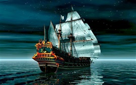 Preview wallpaper Pirate Ship on calm sea