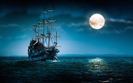 Preview wallpaper Pirate ship sailing under the moonlight