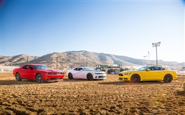Preview wallpaper Red Dodge Challenger, White Chevrolet Camaro, Yellow Ford Mustang