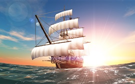 Preview wallpaper Sun rays, sea, sail, ship