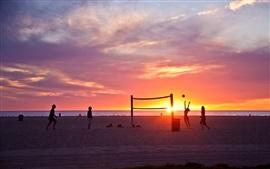 la playa de Venecia, Los Ángeles, California, EE.UU., puesta del sol, voleibol, las personas