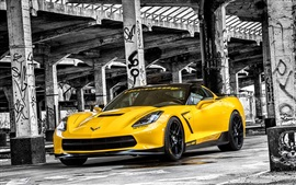 Preview wallpaper 2015 Chevrolet Corvette, Stingray HPE700 C7 yellow supercar