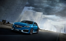 Preview wallpaper 2015 Peugeot 308 R hybrid concept blue color car