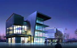 3D modern commercial buildings