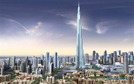 Preview wallpaper 3D renderings, Burj Khalifa, buildings, Dubai
