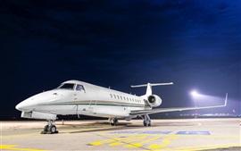 Аэродром, самолет, ночь, огни