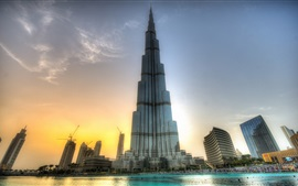 Preview wallpaper Amazing buildings, Burj Khalifa, Dubai, sunset