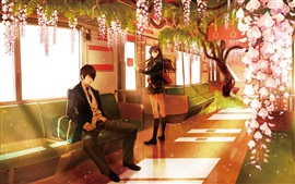 Preview wallpaper Anime, metro, pink flowers, boy and girl